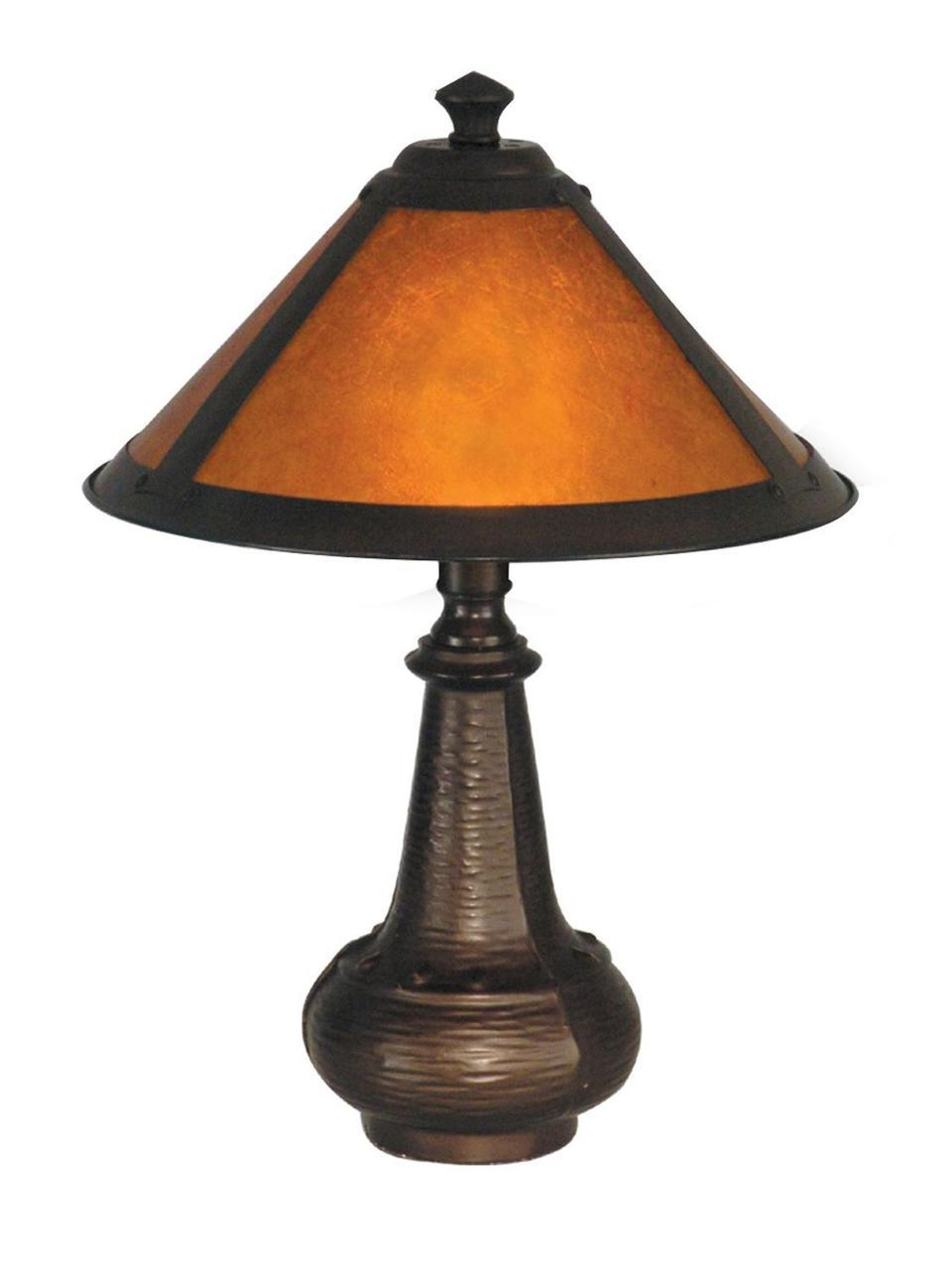 antique bronze amber hunter accent table lamp with mica cone shade mid century linen runner office wall cabinets mirrored bedside ikea waterproof tablecloth black kitchen chairs