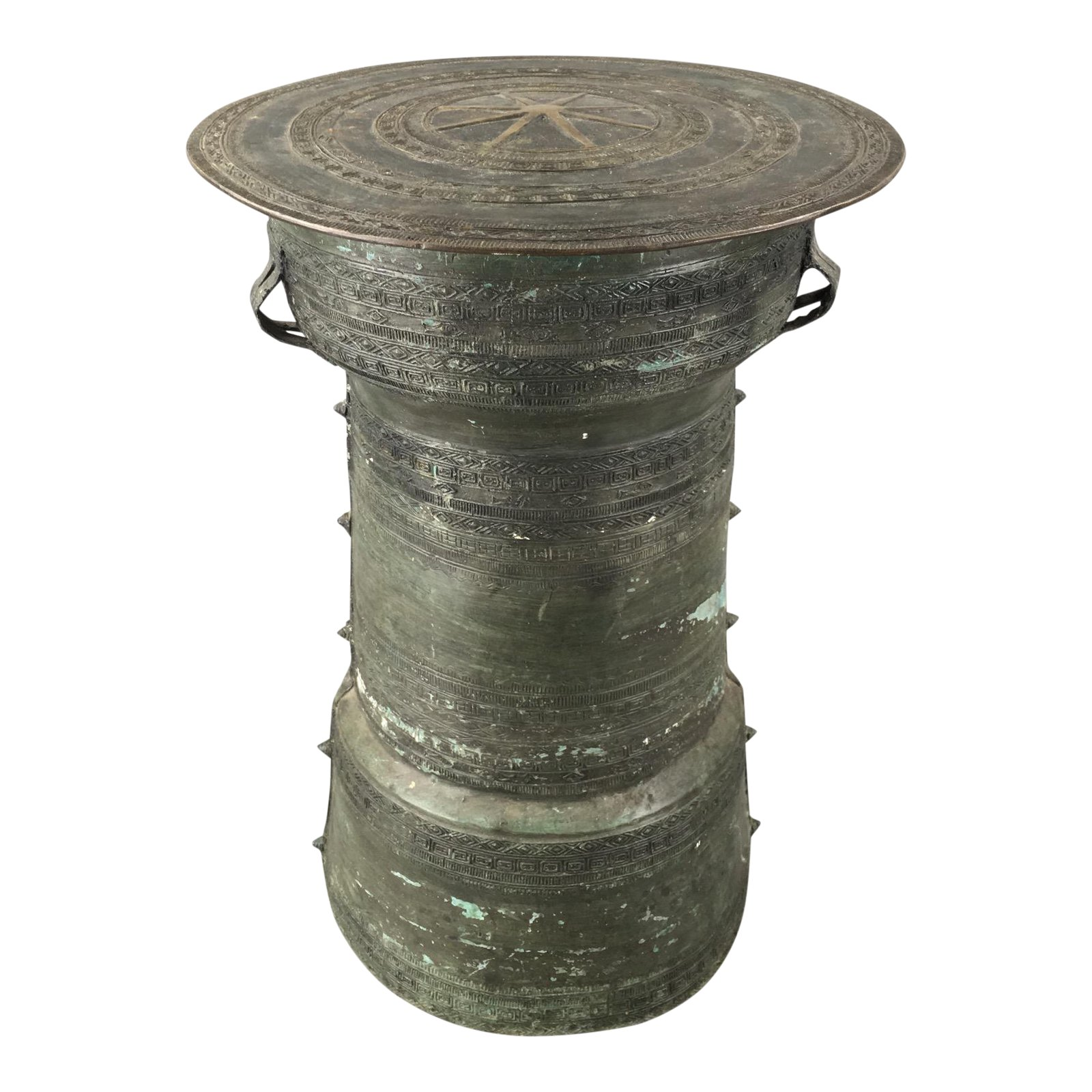 antique burmese thai bronze frog rain drum side table chairish accent coffee and set sofa for small room cabinet grill master parts cool console tables marble stone target