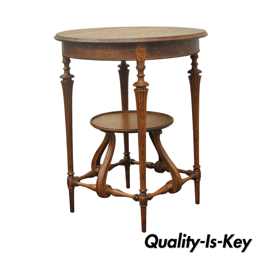 antique carved oak victorian tier round fern accent cherry table occasional small iron garden pottery barn chair ethan allen spindle leg side long cabinet white patio coffee