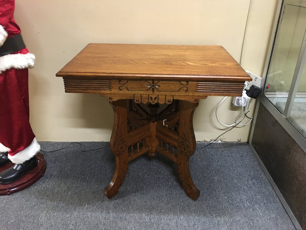 antique carved victorian eastlake style parlour side accent table img sofa ikea tall wooden plant stand console glass coffee and end tables pottery barn covers wine cube threshold