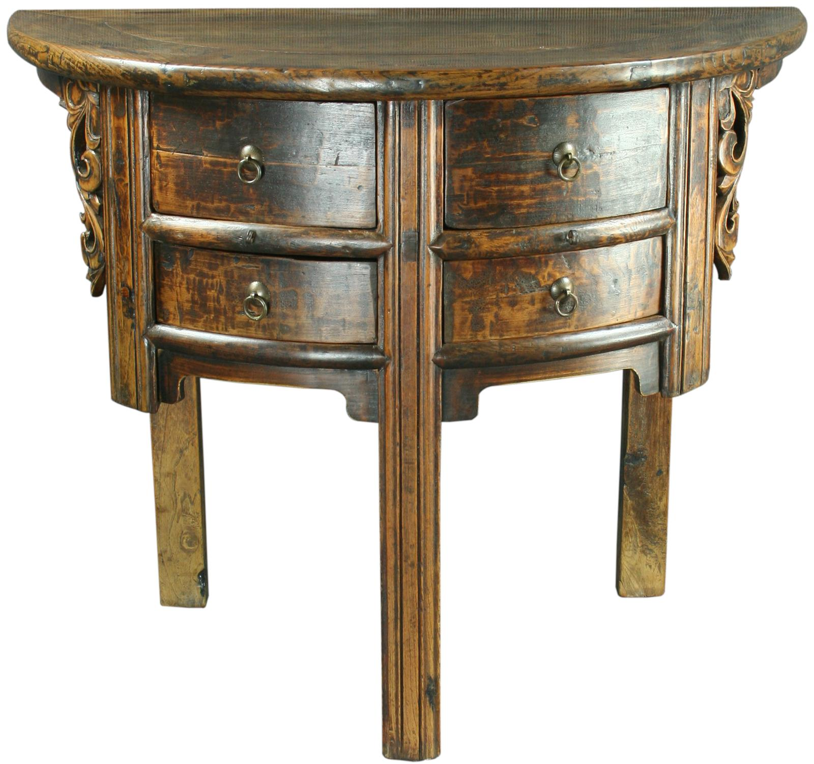 antique chinese half moon semicircular accent table rattan oak narrow hallway gold legs porch furniture clearance pink tablecloth modern replica colorful coffee tables target kids