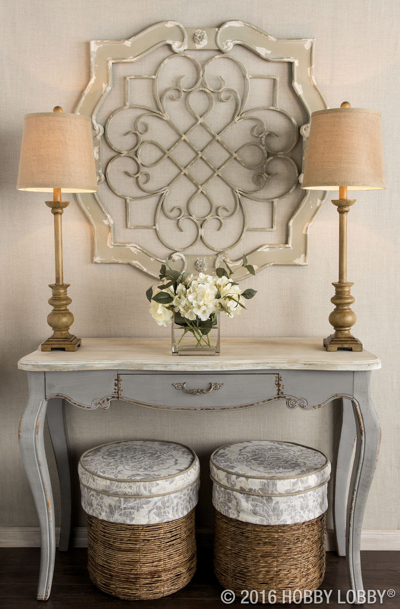 antique cream wood metal wall decor shabby cottage home hobby lobby accent tables architectural elegance your entryway with this stunning medallion entrance table waterproof