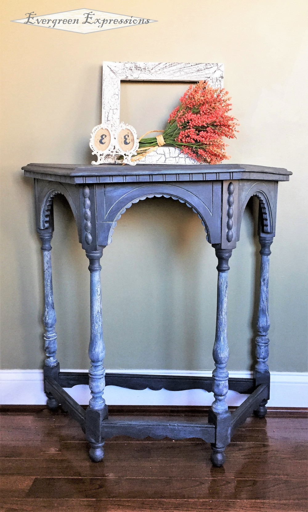 antique demi lune accent table evergreen expressions chirch distressed blue this little old lady perfectly imperfect and lovely can finished fusion mineral ash with chippy legs