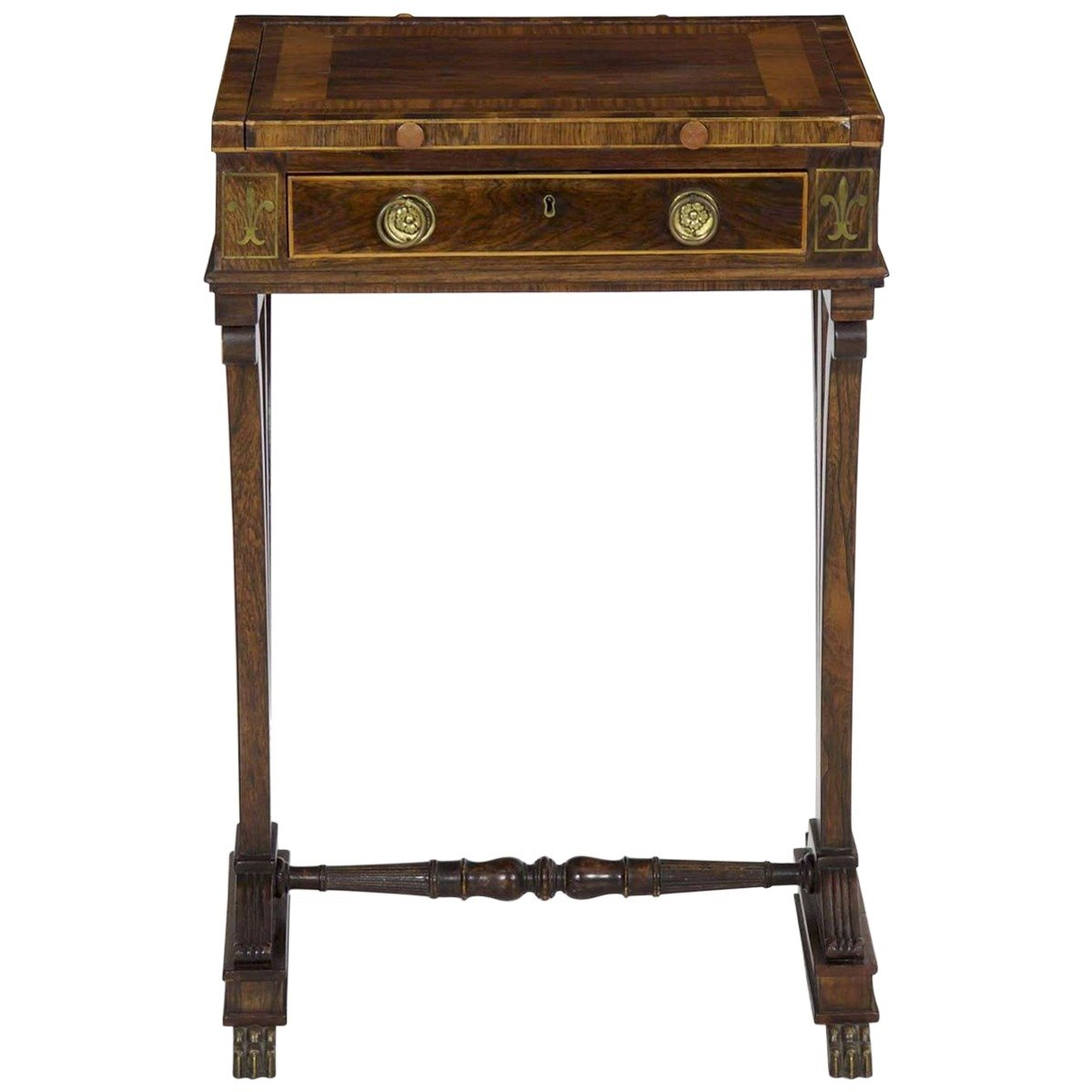 antique early century english george brass inlaid rosewood accent table front sotheby home room essentials desk ikea garden shelf huge outdoor umbrella grill work living sets grey