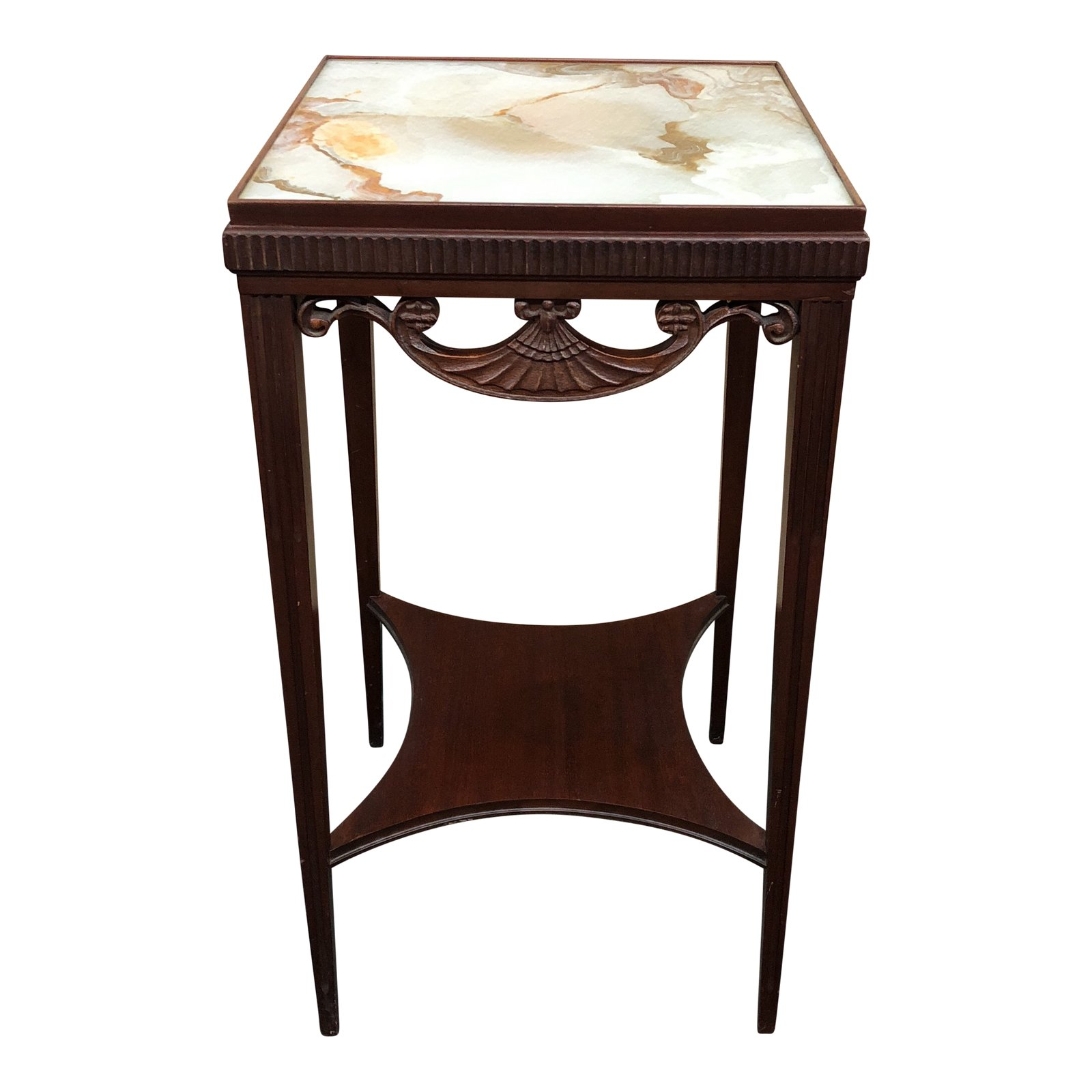 antique faux marble painted glass top accent table chairish wood covers for outdoor tables unique cabinets copper side mirrored end low living room nest grey rustic round small