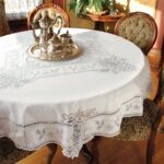antique lace round tablecloth and table linens accent diameter hairpin legs junior drum stool mosaic tile bistro chairs clearance lawn furniture outdoor dining set cover white 150x150