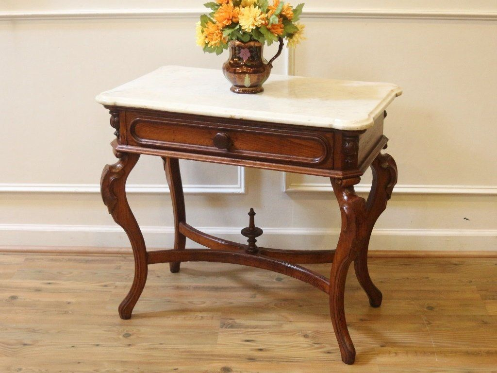 antique marble top console end accent table victorian country style hallway furniture tall wooden plant stand chestnut clear coffee acrylic mirrored media wine cube sofa ikea