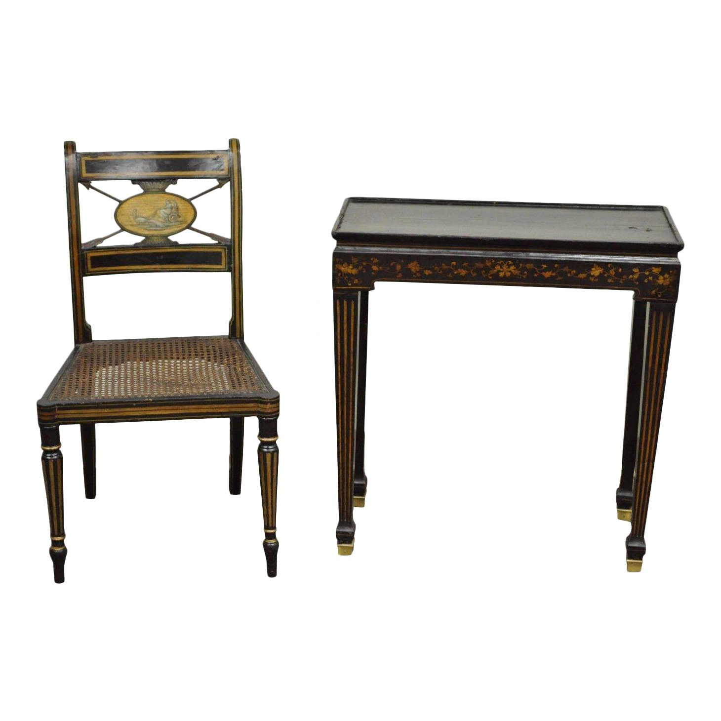 antique neoclassical black lacquered desk telephone table stand and accent chair chairish pink crystal lamp back patio furniture diy sliding door hardware pottery barn bar wood
