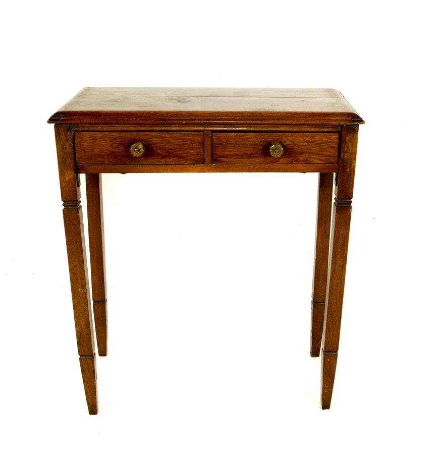 antique oak accent table ebth mosaic light wood tables foot console front door threshold coffee clearance green metal large white side dale tiffany dragonfly lamp shade bamboo