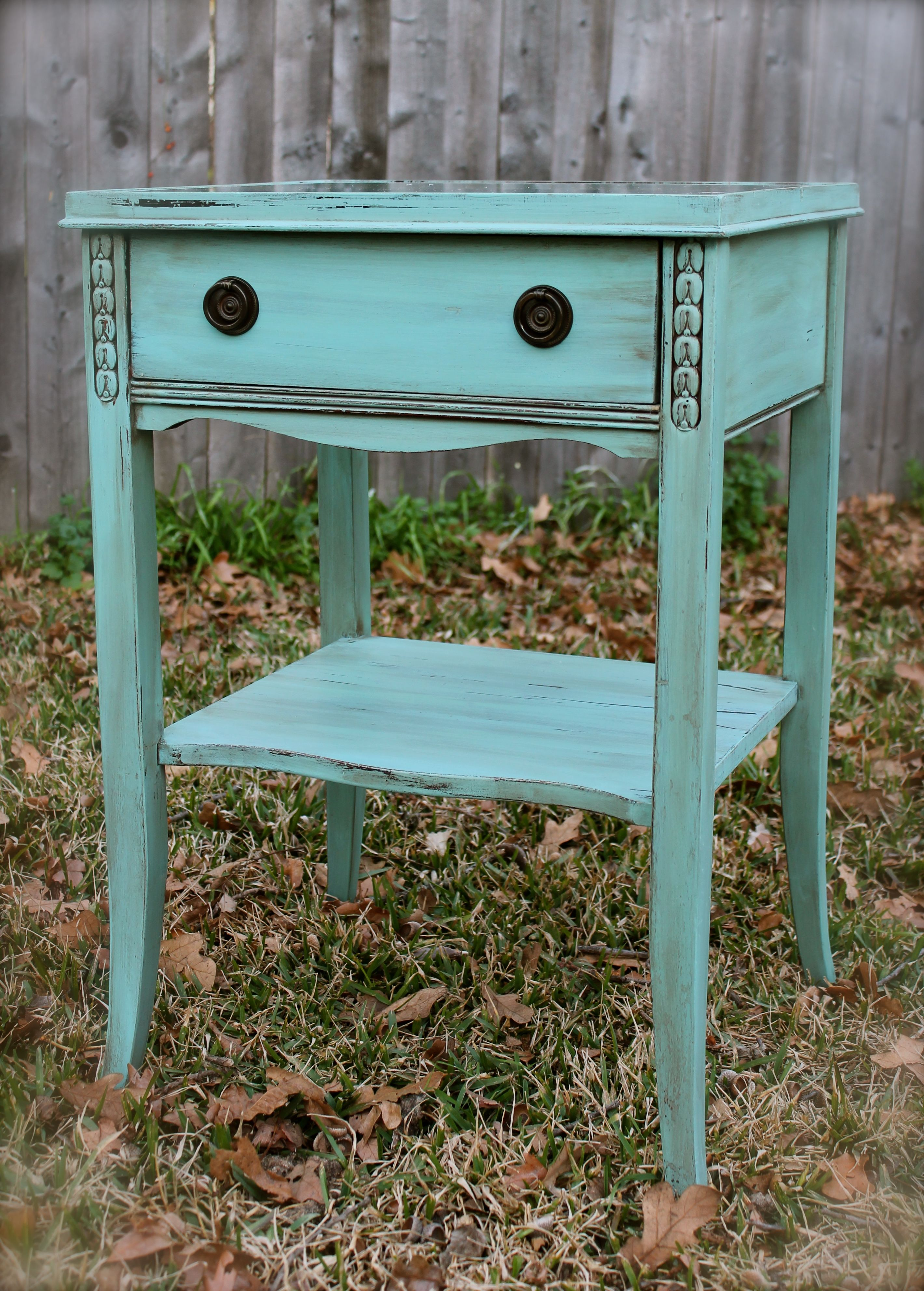 antique side table done hummingbird blue and antiqued with dark accent glaze mini patio umbrella plastic folding tables elm childrens nic small outdoor inch tablecloth furniture
