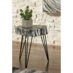 antique silver finish wood stump style accent table with hairpin products signature design ashley color dellman legs battery operated bedside lights foot trestle light lamp glass 150x150