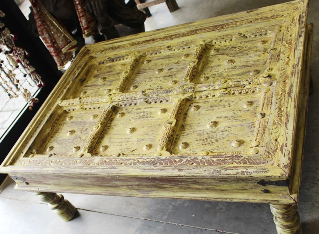 antique style coffee table rustic hand carved solid wood vintage tea wooden accent iron knob yellow oak end tables with storage extra tall patio dining set cover nite stands round