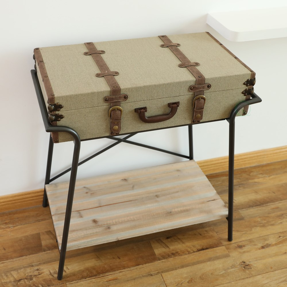 antique style storage trunk accent end table quickway imports inc large gazebo counter height folding pool lights plexiglass coffee contemporary home decor target threshold living