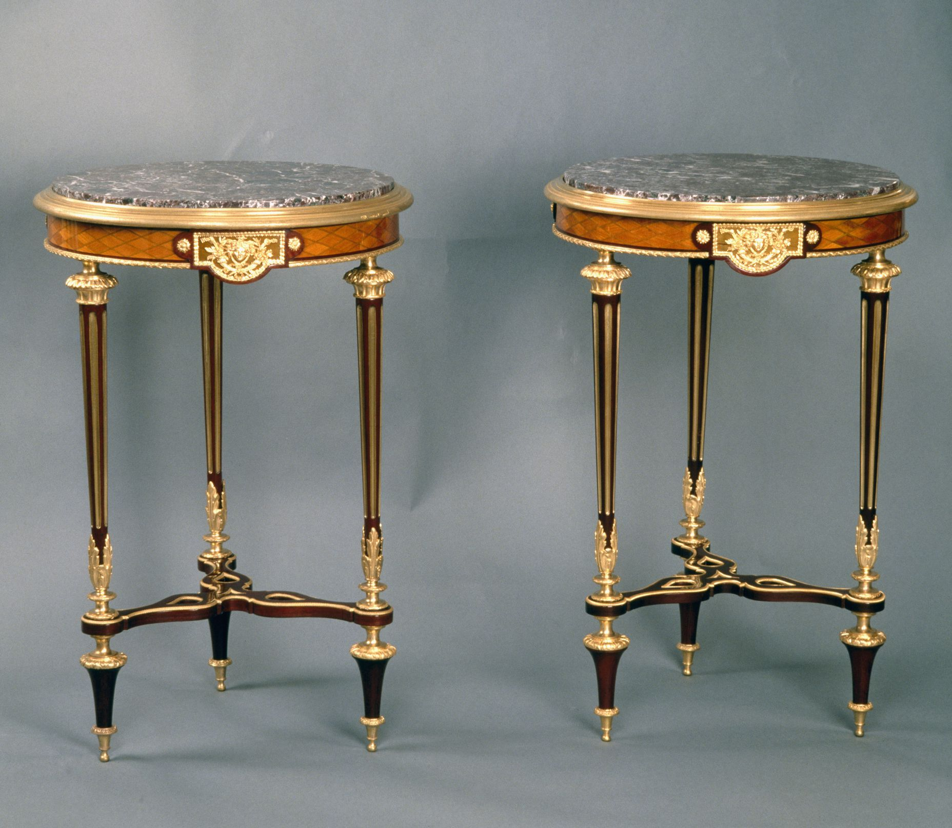 antique table identification guide pair small louis xvi style second empire napoleon iii lemonwood tripod gueridon tables with diamond shaped inlays and fleur pecher marble top