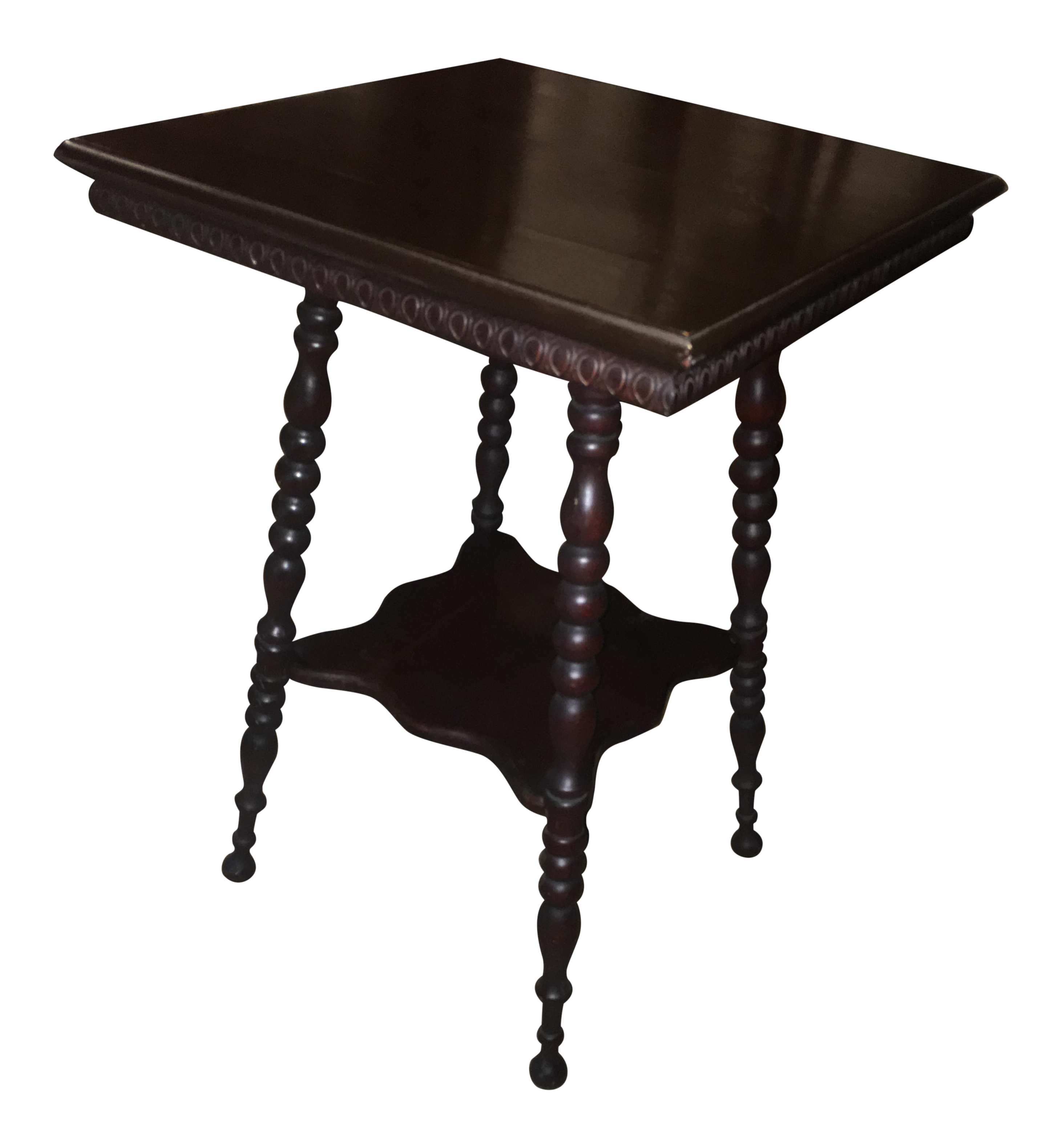 antique turned spindle leg side table chairish wood accent set two chairs square glass coffee target threshold marble top matching end tables office wall cabinets modern metal