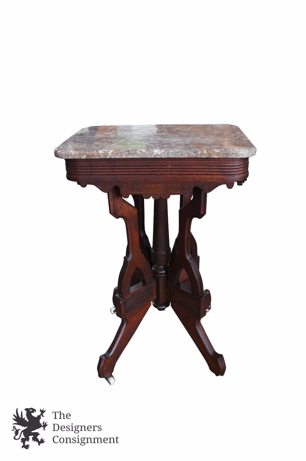 antique victorian eastlake parlor side accent table granite top carved walnut round glass end large square mirrored coffee the range tables threshold mango wood vitra chair