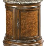 antique vintage burl wood leather top round drum table lamp fevcol door mahogany with drawer signy accent coffee duncan patio furniture covers canadian tire plastic garden and 150x150
