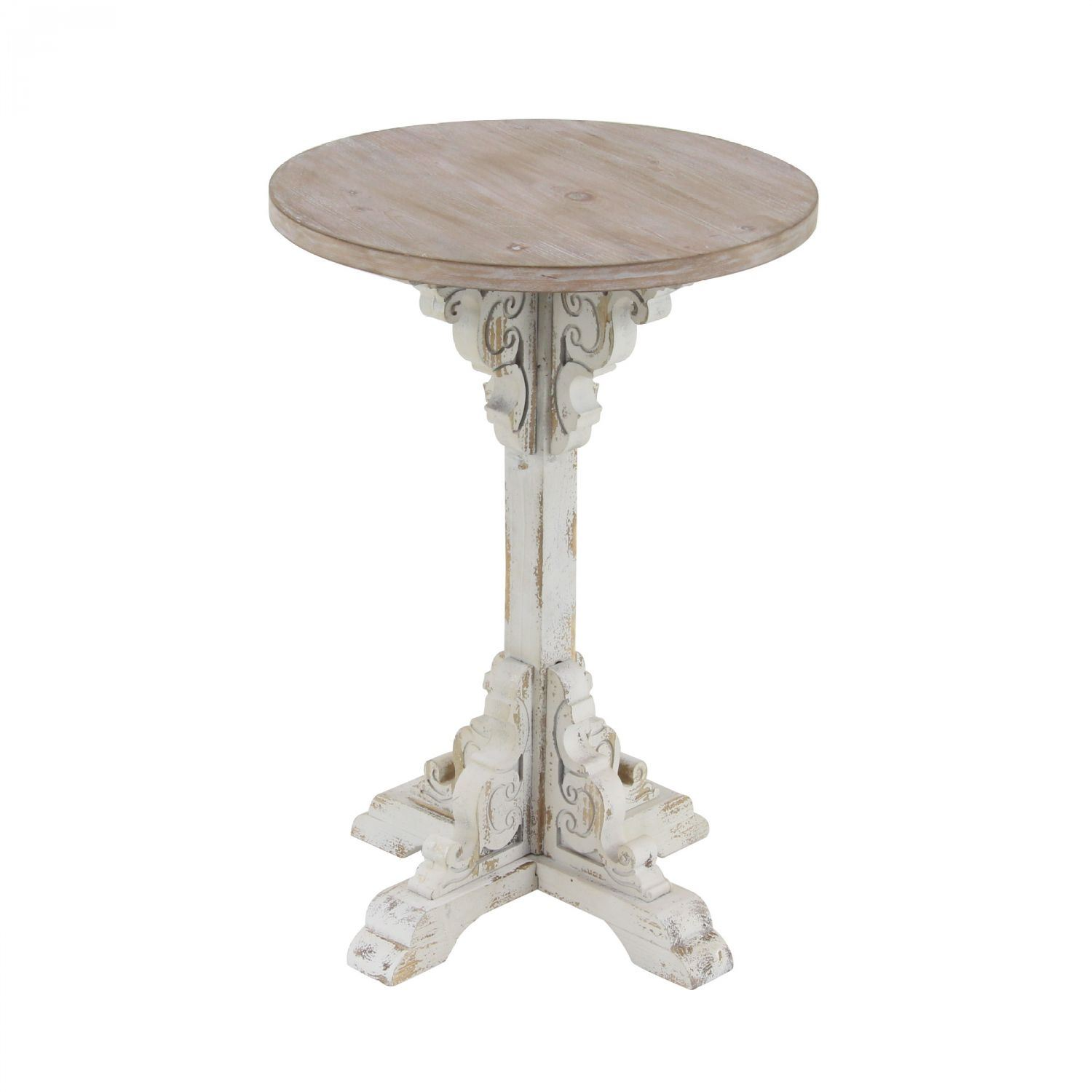 antique white accent table uma enterprises afw vintage end round dining set outdoor shade umbrella acrylic clear side tablecloth small grey farmhouse kitchen wine cabinet modern