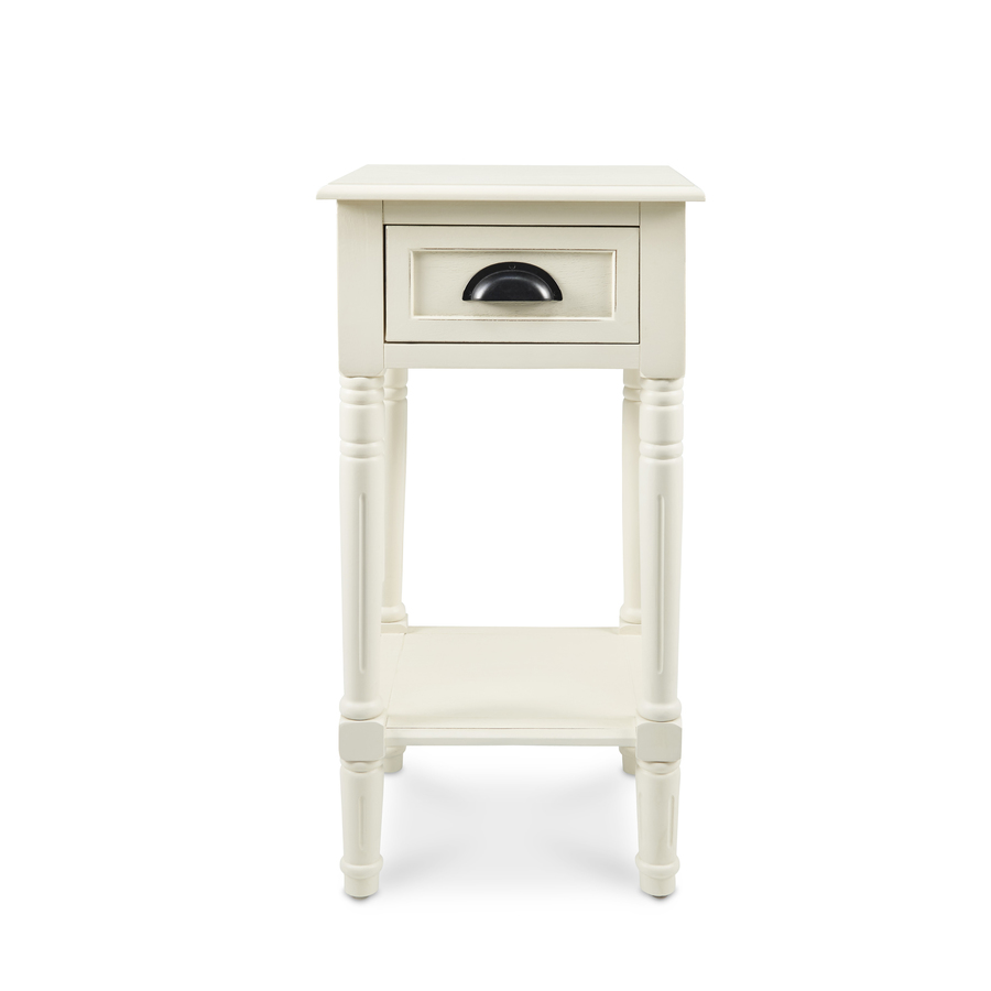 antique white composite casual end table accent with drawers dining cloth design three drawer porch furniture slim drop leaf console decor tall round pottery barn chair pink side
