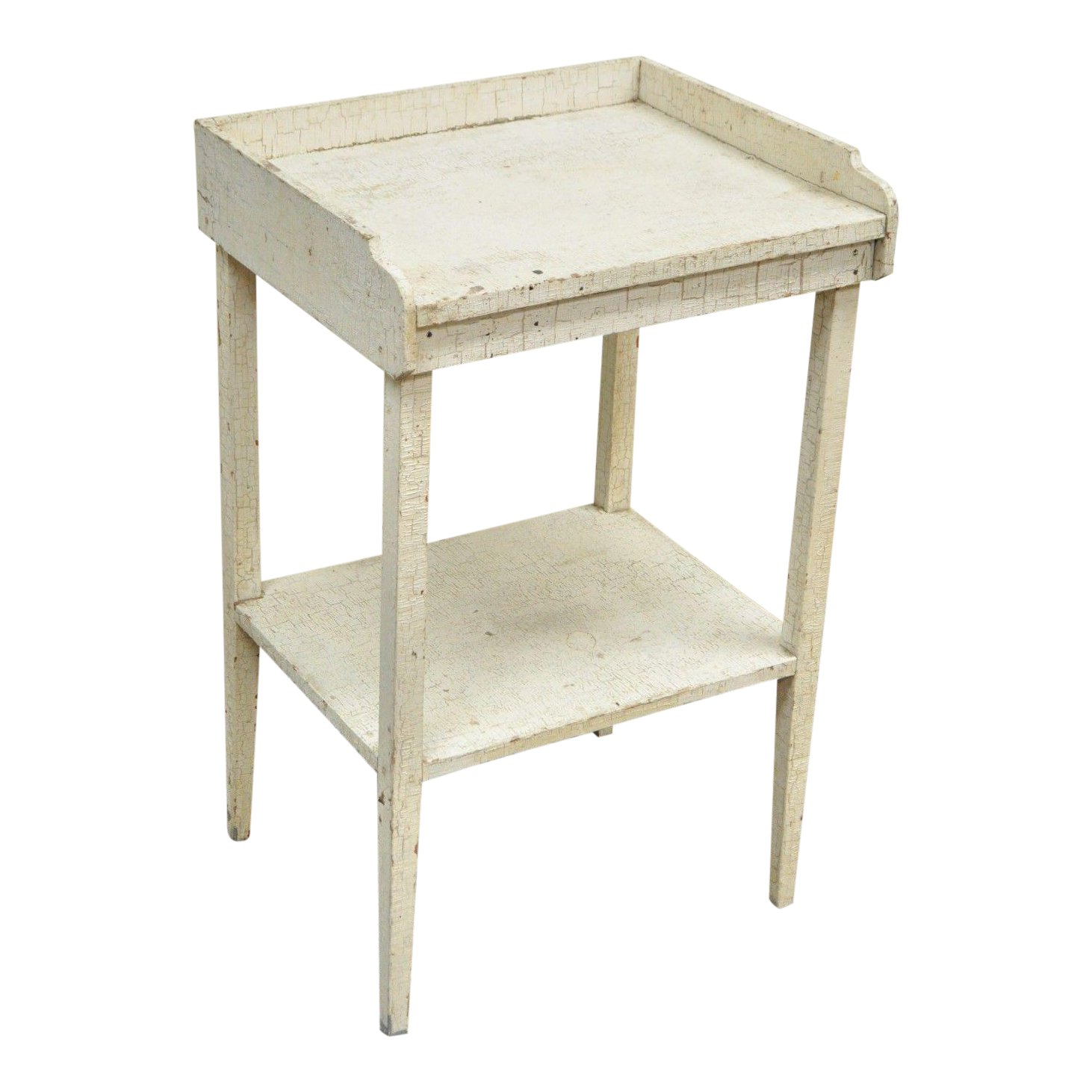 antique white distress painted pine tier accent side table rustic primitive chairish vintage retro furniture gateleg drop leaf building barn door jofran ginger jar lamps green