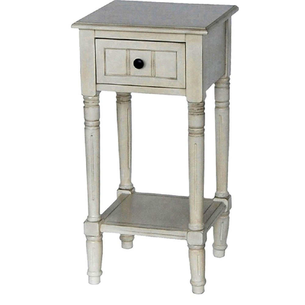 antique white vintage shabby chic inspired simplify one accent table drawer square dimensions kitchen dining small modern glass coffee battery operated indoor lamps vinyl