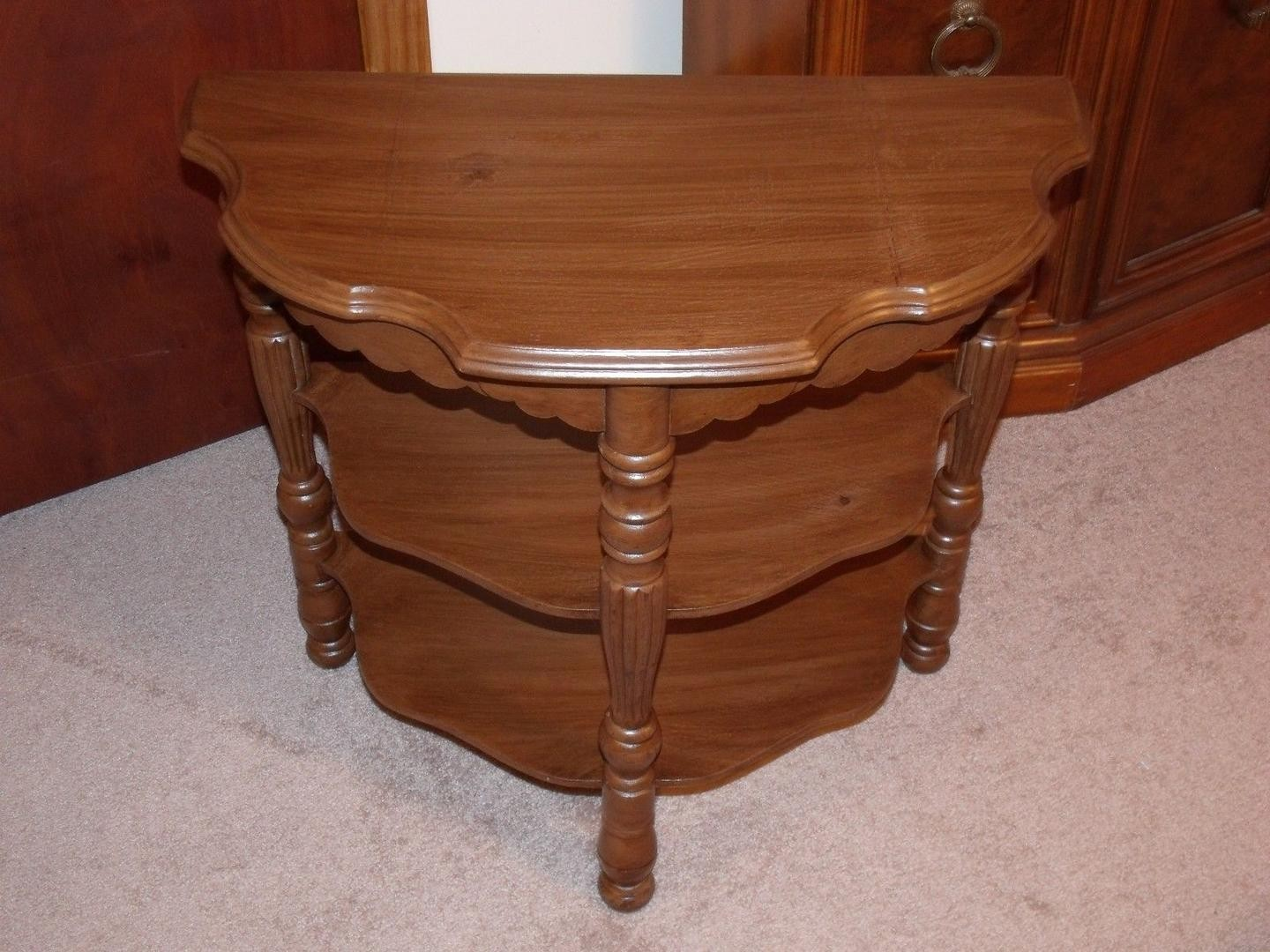 antique wood accent console table half moon medium tone vintage oak oblong coffee pottery barn ikea bedroom drawers black crystal lamp magnussen furniture tall skinny entryway
