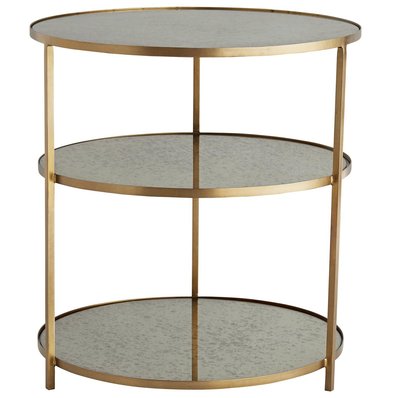 antiqued mirror side tables dandelion spell tiered metal accent table round tier iron with antique brass finished frame and nook plus pub height kitchen chest bottle wine rack