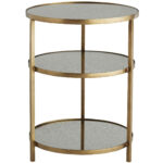 antiqued mirror side tables dandelion spell tiered metal accent table round tier iron with antique brass finished frame and vintage acrylic coffee clear console modern light legs 150x150