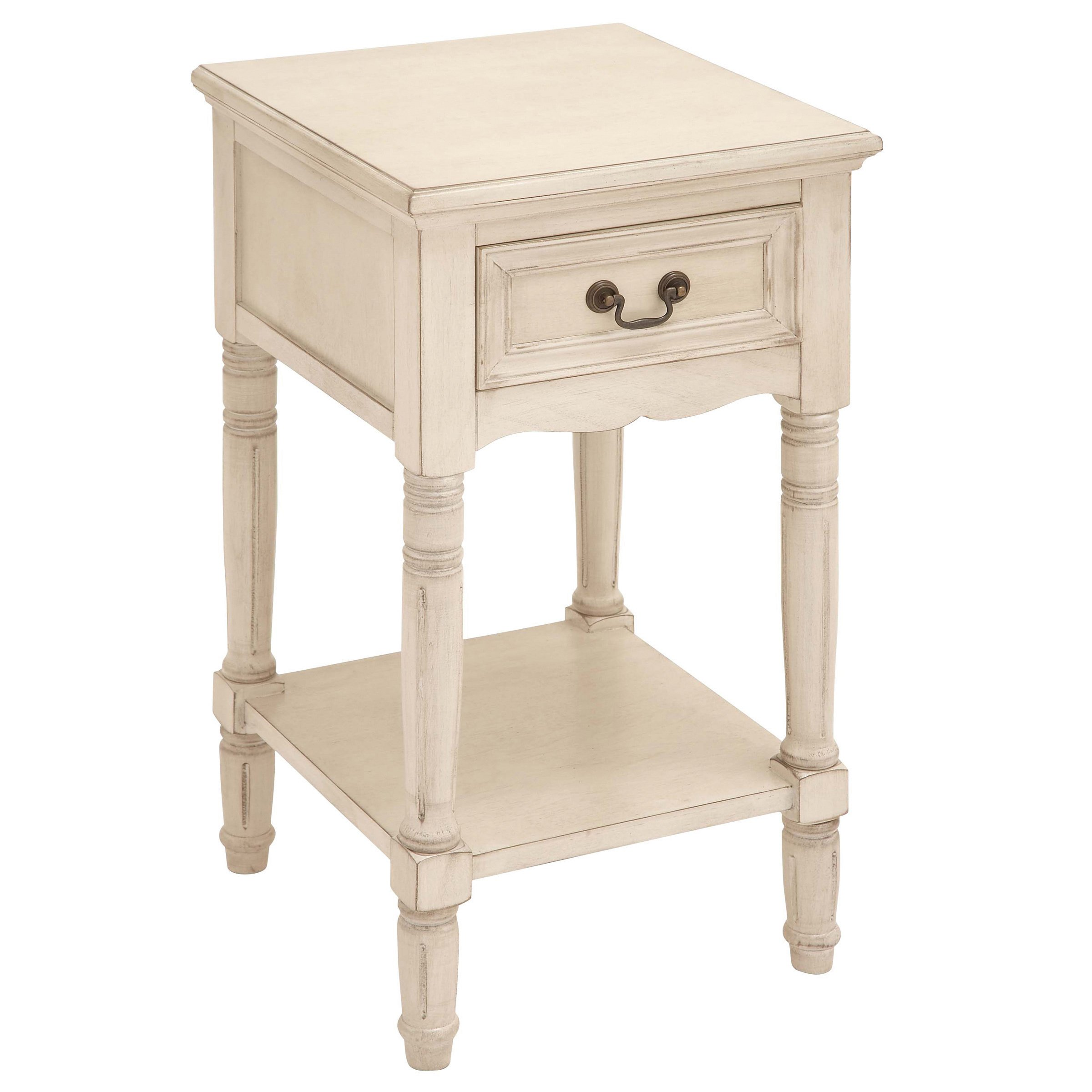 antiqued solid wood accent table night stand free shipping tables furniture side narrow white gallerie locations square clock small clear weathered teak coffee sofa and chair set