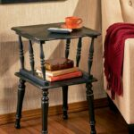 antiqued spindle leg accent tables the lakeside collection sel blk wood table pair lamps glass coffee with gold legs three piece nesting set square agate side beach cottage 150x150