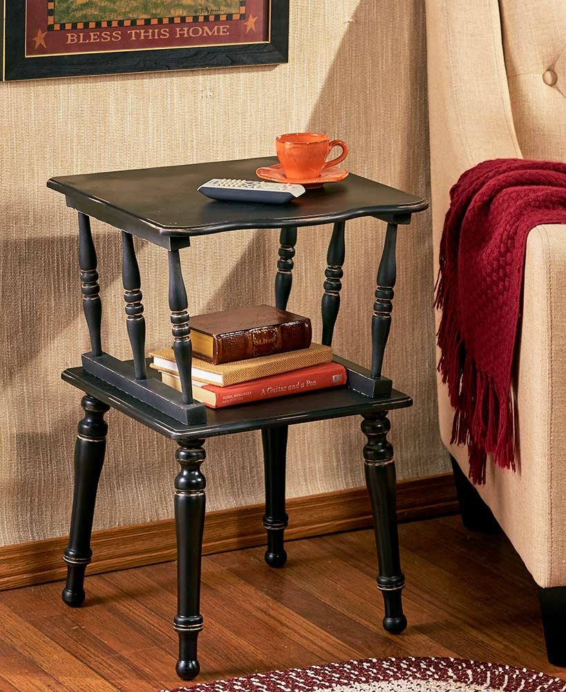 antiqued spindle leg accent tables the lakeside collection sel blk wood table pair lamps glass coffee with gold legs three piece nesting set square agate side beach cottage