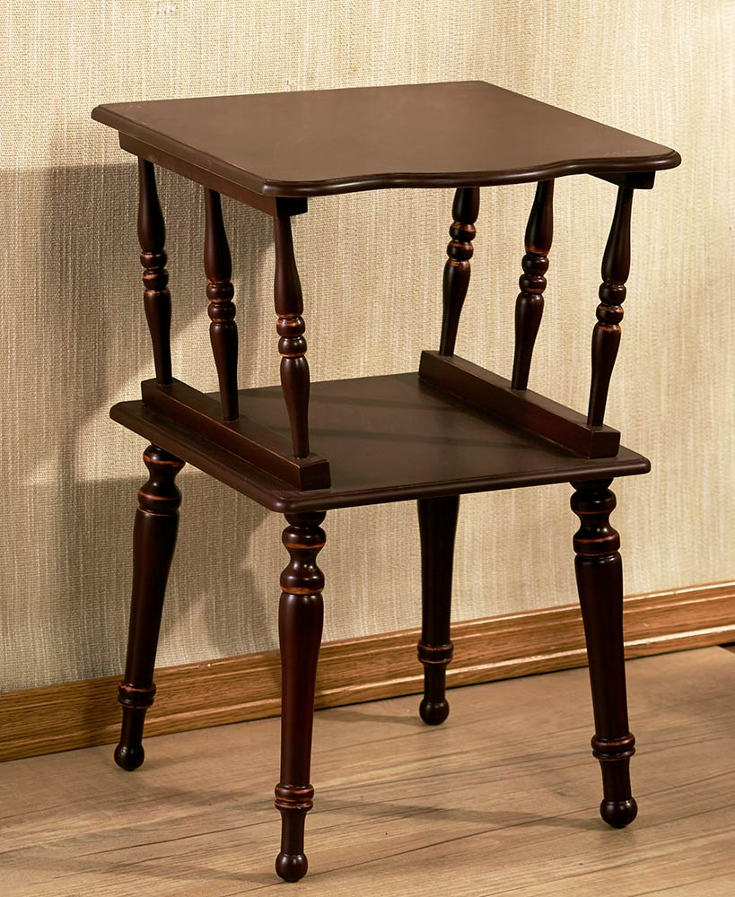 antiqued spindle leg accent tables the lakeside collection sel brn wood table unwanted furniture target coffee kartell side antiques roadshow dale tiffany lamp set two chairs nate