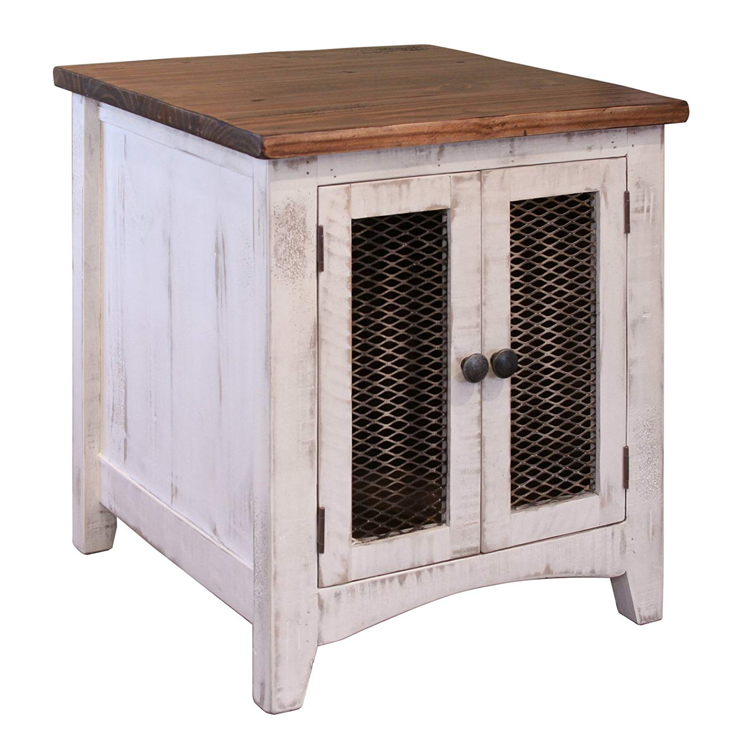 anton quality solid wood distressed white end table with accent doors side has storage behind mesh and arrives fully assembled kitchen antique oak rustic hobby lobby furniture