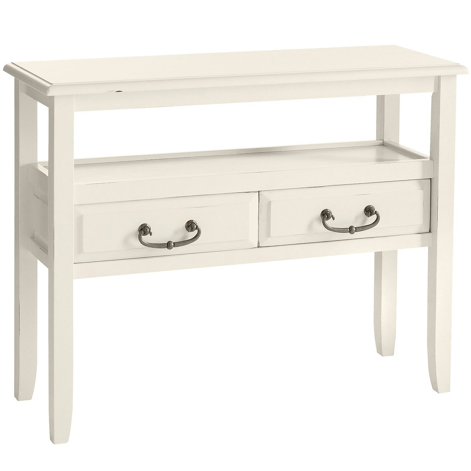 anywhere antique white console table with pull handles pier imports one accent floor standing lamps solid wood corner lawn chair umbrella lucite coffee ikea bella green mosaic