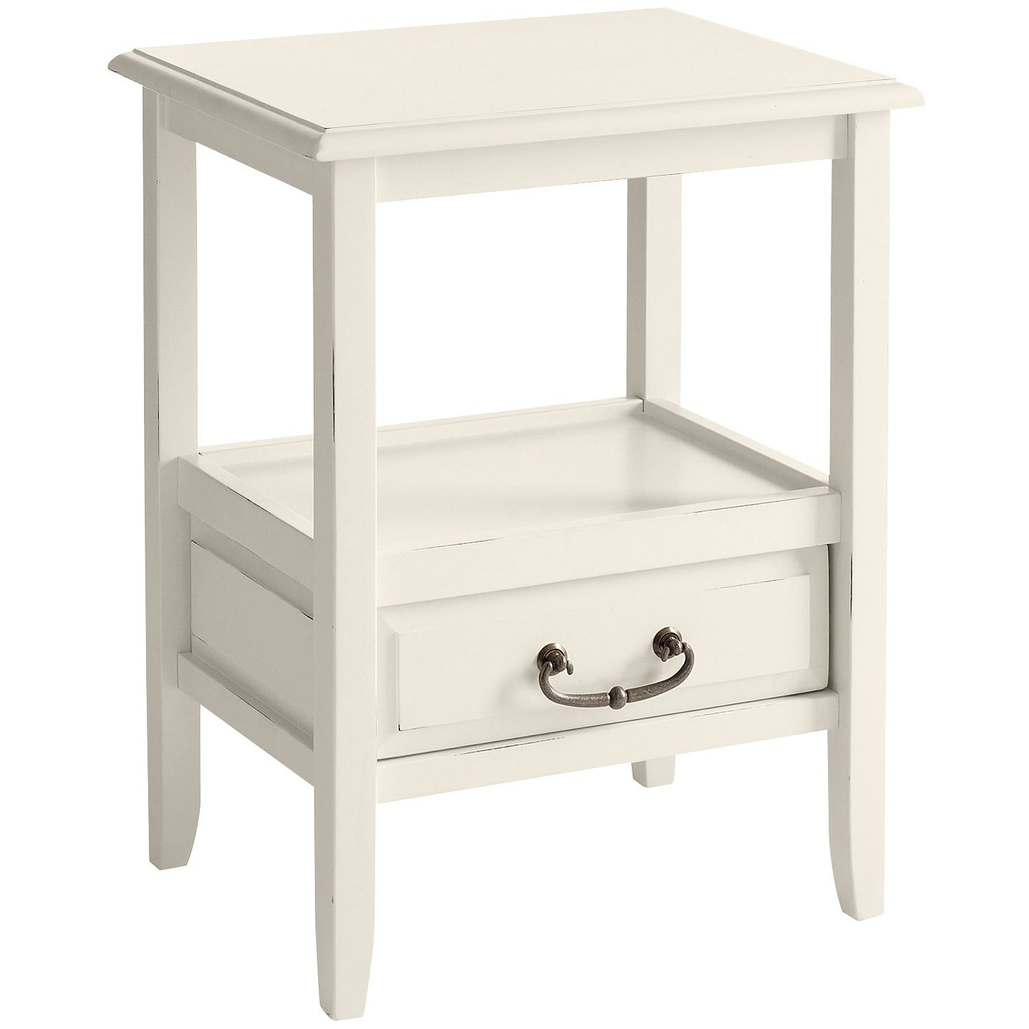 anywhere antique white end table with pull handles pier imports one accent collection floor standing lamps drop side lawn chair umbrella target circular pottery barn dishes lucite