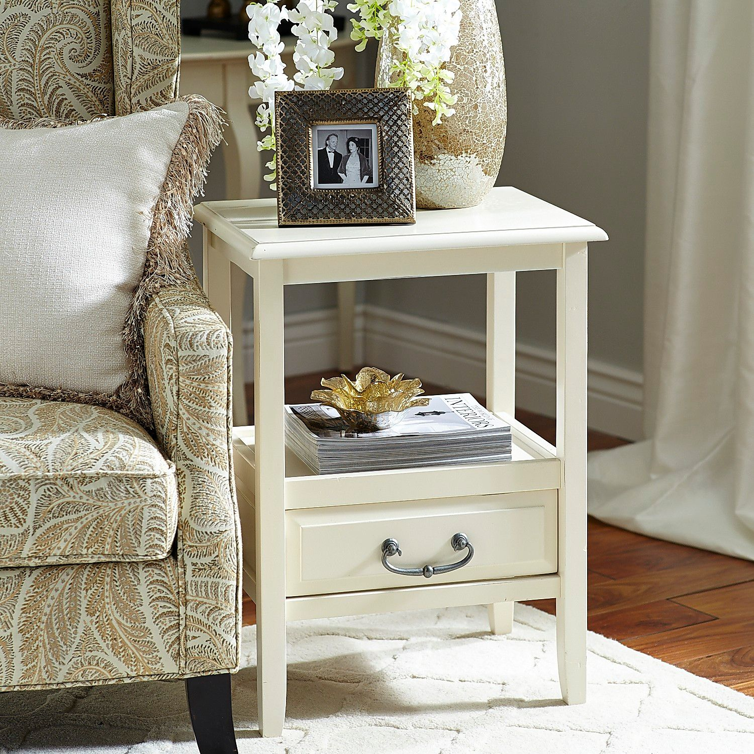anywhere antique white end table with pull handles pier imports one accent verizon ellipsis wicker furniture set clearance metal patio tables pool covers bunnings frame black