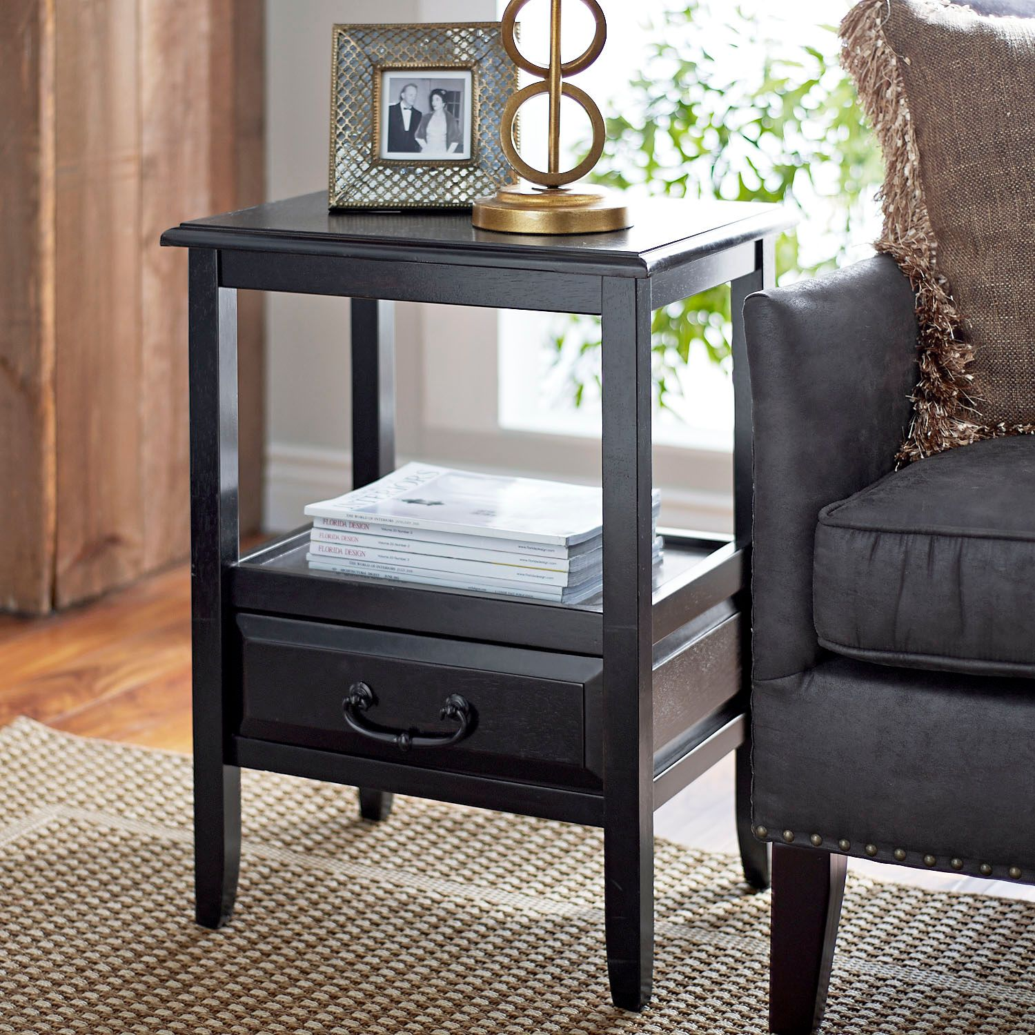 anywhere rubbed black end table with pull handles pier imports one accent yellow target verizon ellipsis metal frame pottery barn white dishes patio furniture side pool covers