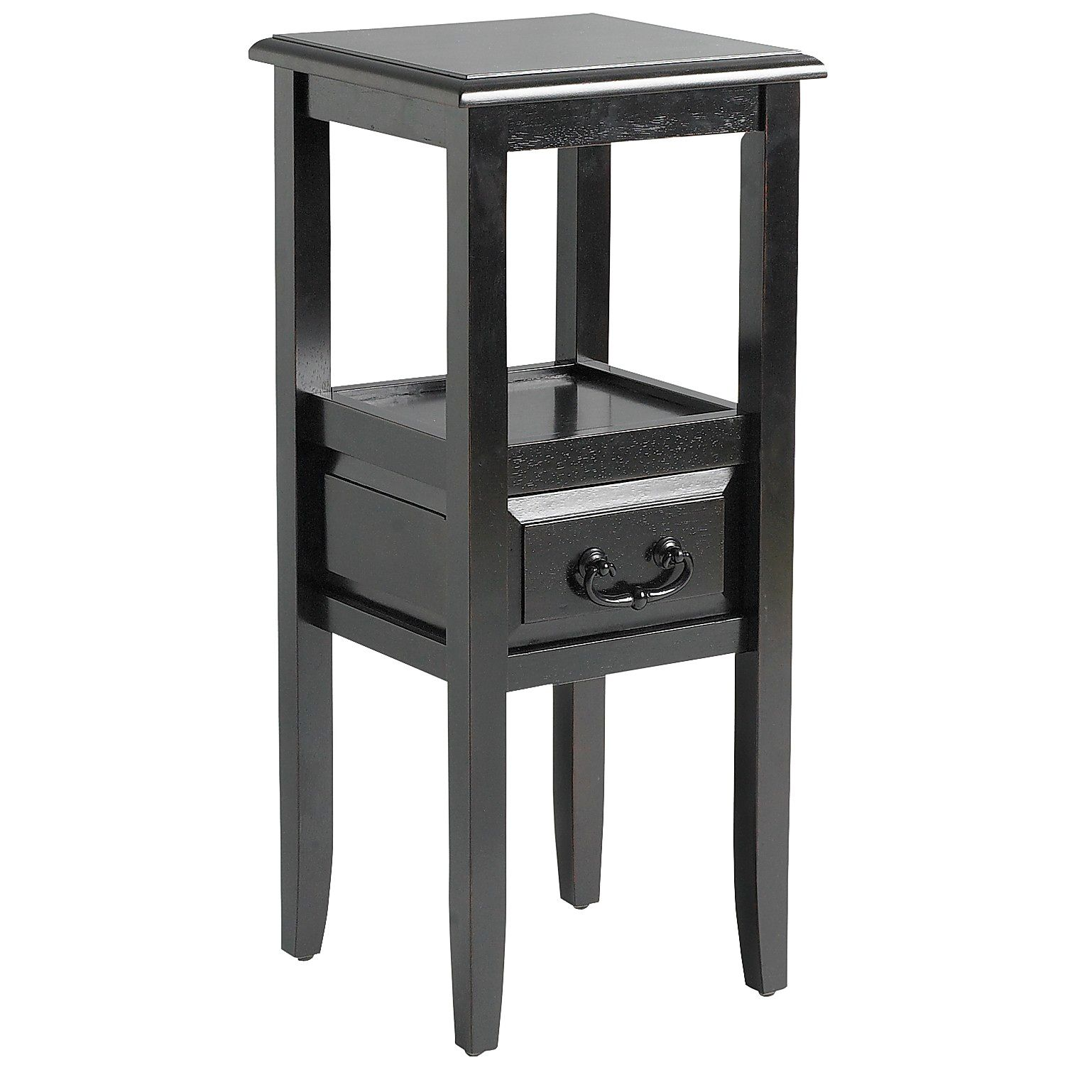 anywhere rubbed black pedestal table with pull handles pier imports one accent marble side tables living room patterned chairs metal frame end decorative boxes lids urn lamp solid