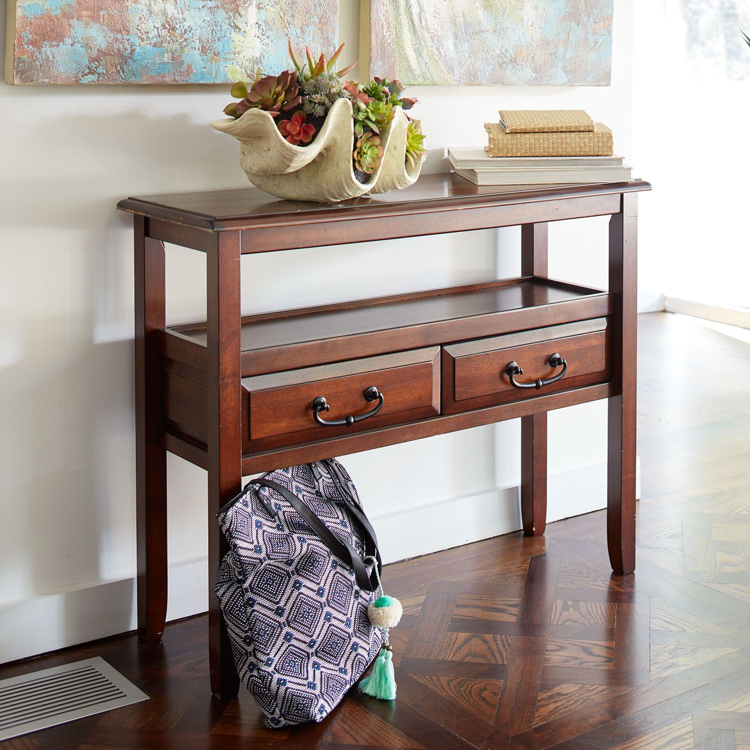 anywhere tuscan brown console table with pull handles pier imports one accent wrought iron patio dining target circular glass lamp shades pottery barn white dishes wicker