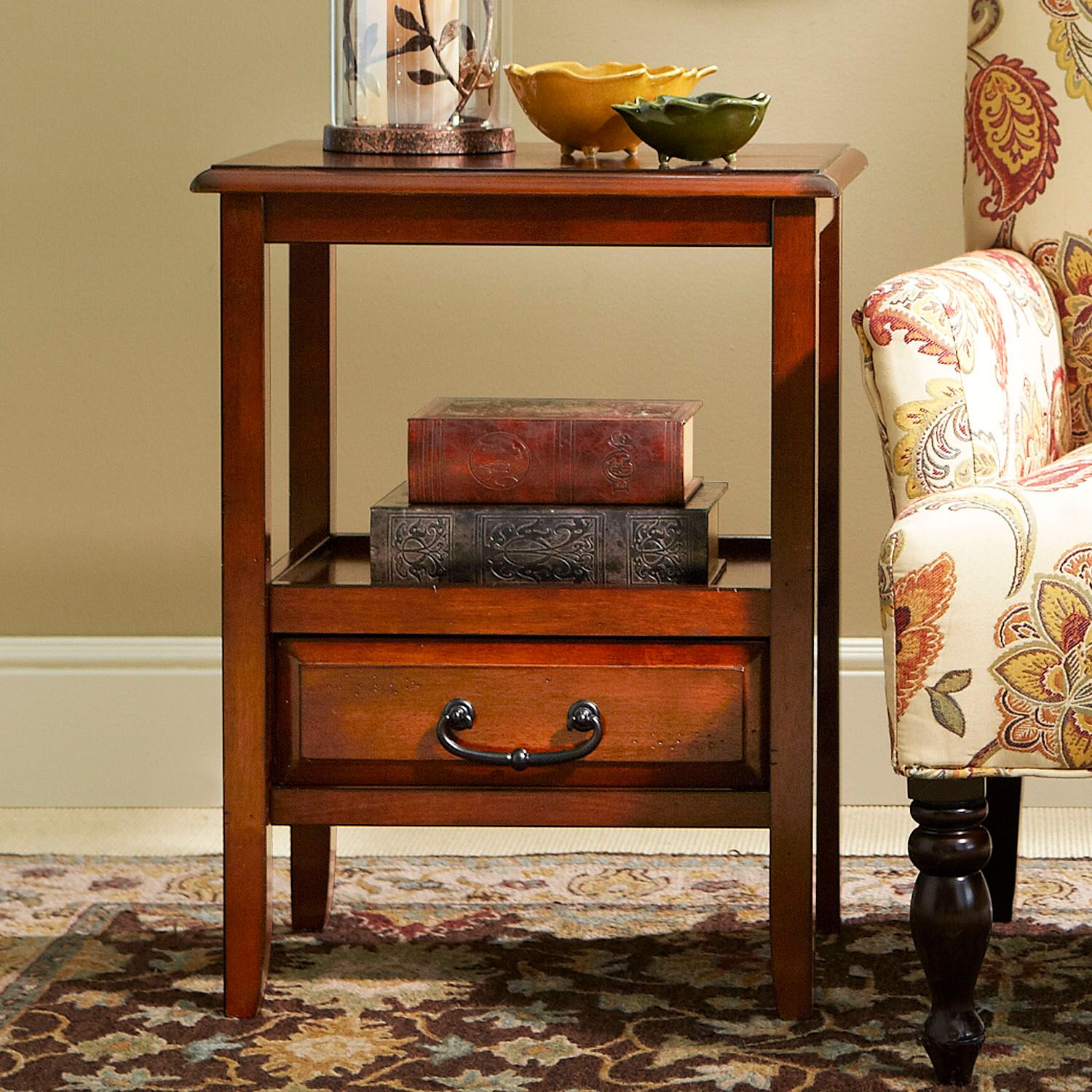 anywhere tuscan brown end table with pull handles pier imports one accent black wrought iron outdoor coffee yellow target circular plastic cloth console garden storage units