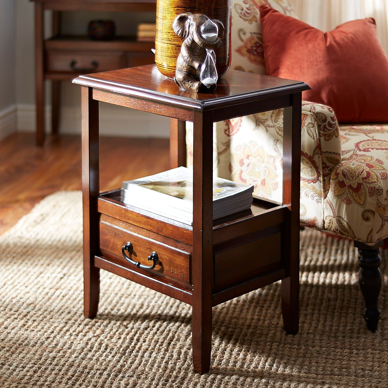 anywhere tuscan brown end table with pull handles pier imports one accent pottery barn benchwright dining bar storage cabinet solid wood corner lawn chair umbrella bella green