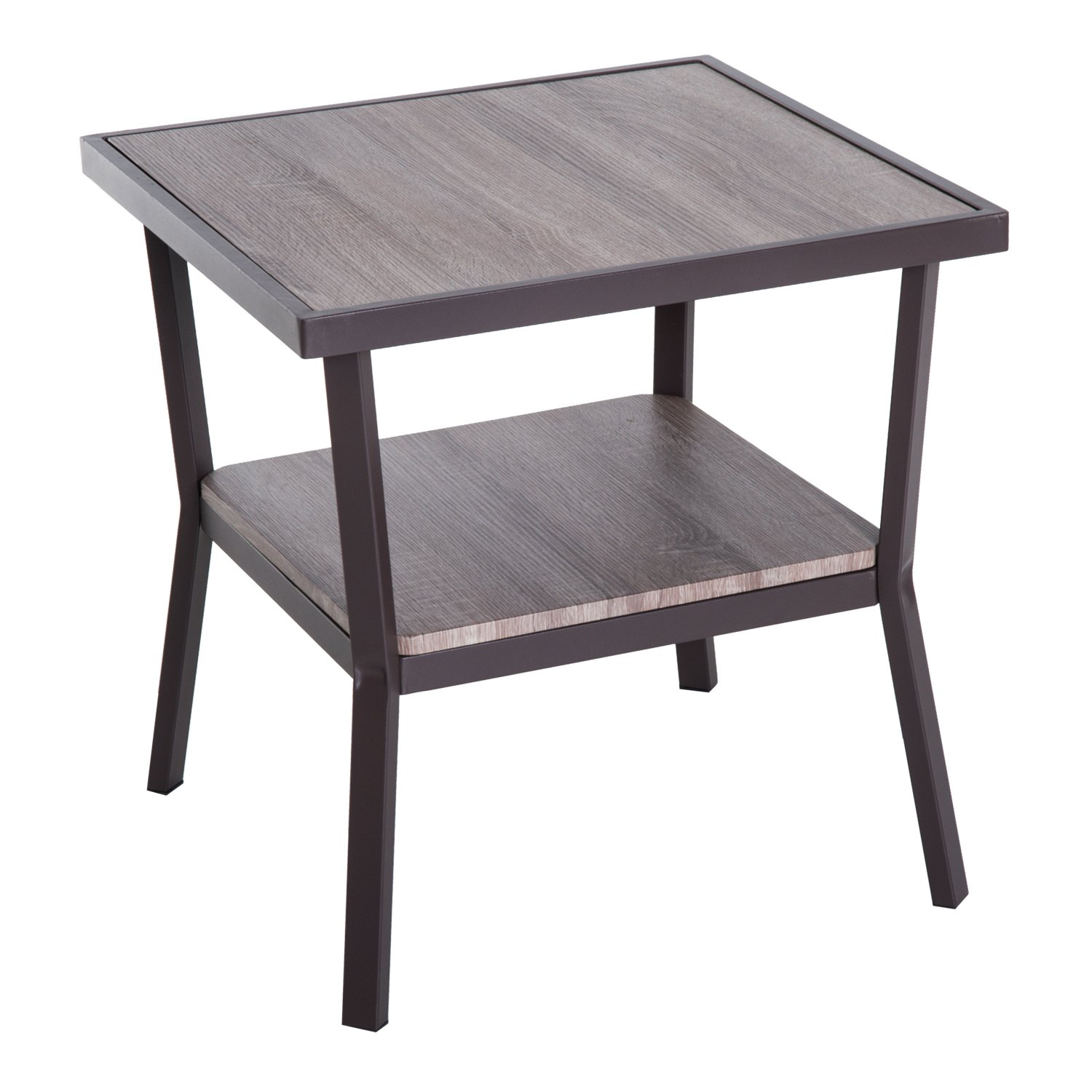 aosom homcom rustic industrial minimal two tier wooden accent end light wood table brown woodgrain uttermost samuelle bunnings outdoor seating kitchen ashley signature coffee ikea