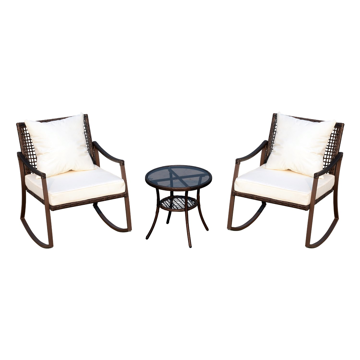 aosom outsunny piece outdoor rattan wicker patio accent table rocking chair set with tempered glass round dining and chairs tall pub small lamps for kitchen antique battery