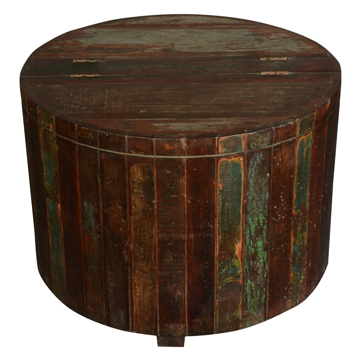 appalachian rustic reclaimed wood round barrel chest outdoor accent tables cork catcher table modern sectional black side lamps and upholstered dining chairs small barn door