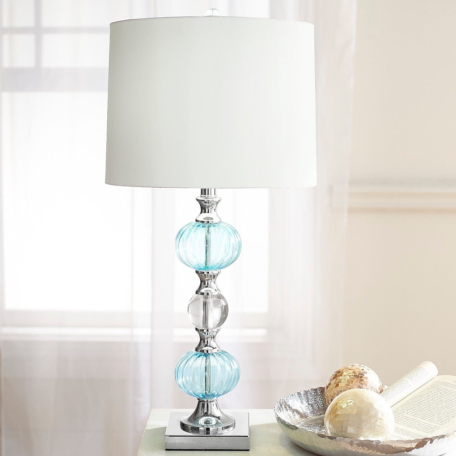 aqua glass table lamp pier imports one accent lamps garden umbrella drop leaf with folding chair storage cream modern dining room sets decor design pottery barn six chairs