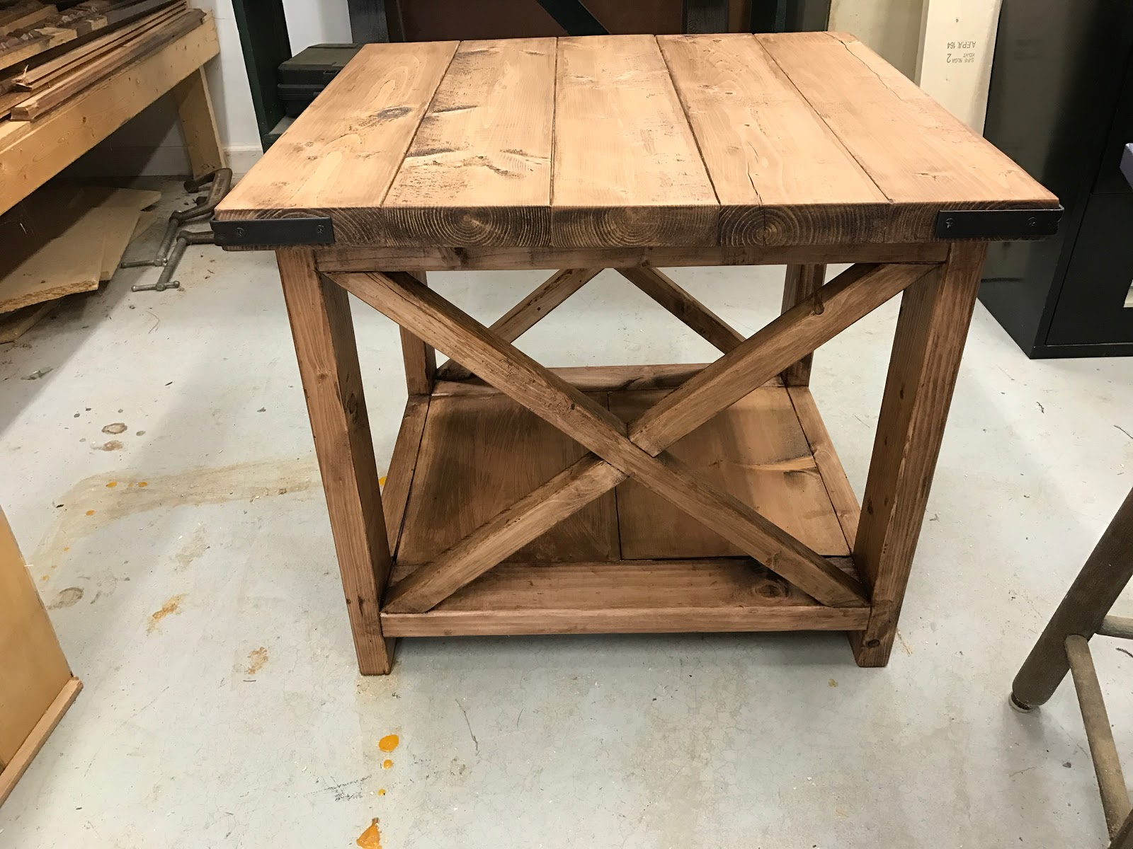 are grown ups now diy rustic end table img love the farmhouse style this and looked somewhat simple below our experience building enjoy wood stump accent bench vise hardware ikea