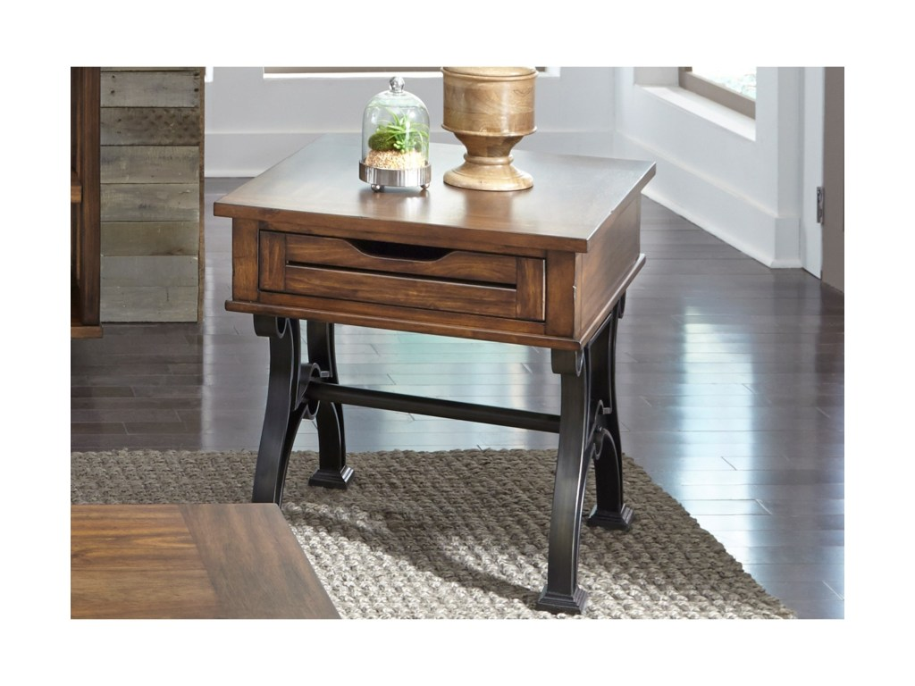 arlington industrial drawer end table with metal trestle base products liberty furniture color room essentials accent free fall runner quilt patterns marble bistro and chairs