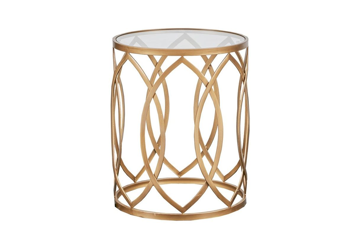 arlo metal eyelet accent table gold madison park from gardner white furniture funky outdoor shower curtains cherry dining room antique mahogany side extendable farmhouse vintage