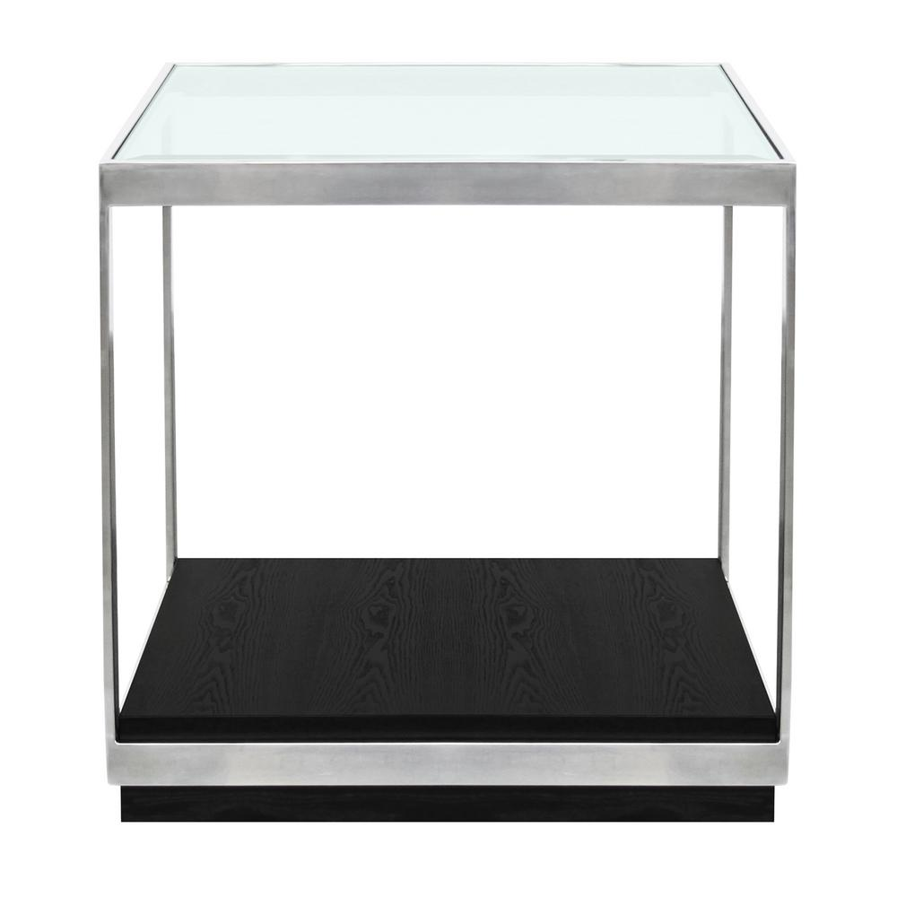 armen living manchester glass top end table lcmhlabl the polished stainless steel tables monarch bentwood accent with tempered room sets for small spaces sea themed lamps large