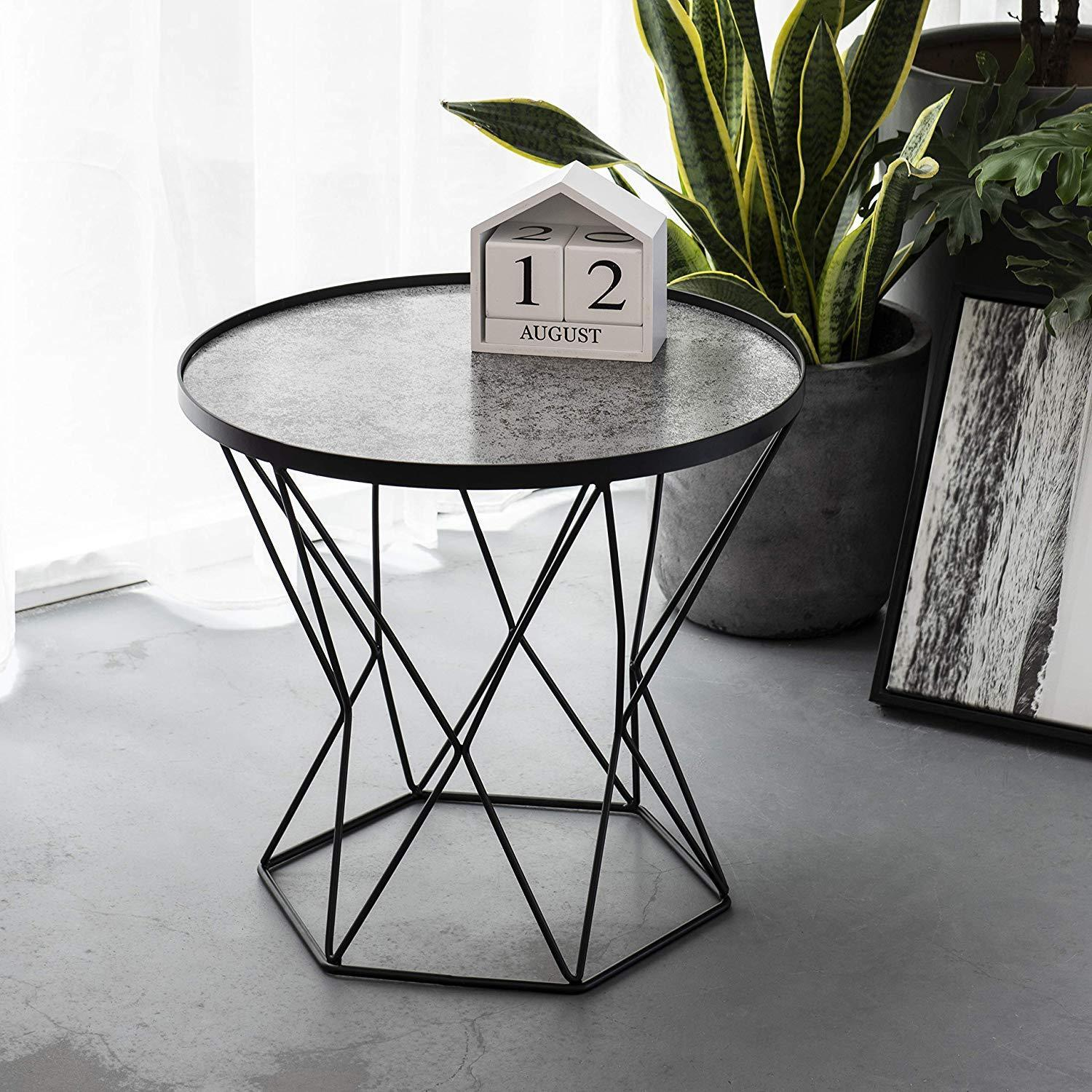 art leon small round end table modern glass top metal frame triangle accent the stylish talbe just right for you which can meet most contemporary decor style this gorgerous placed
